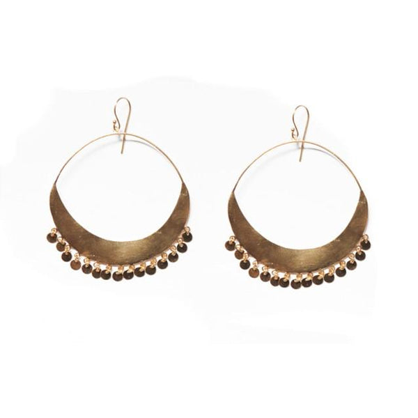 Brushed Gold Hanging Circles Hoop Earrings