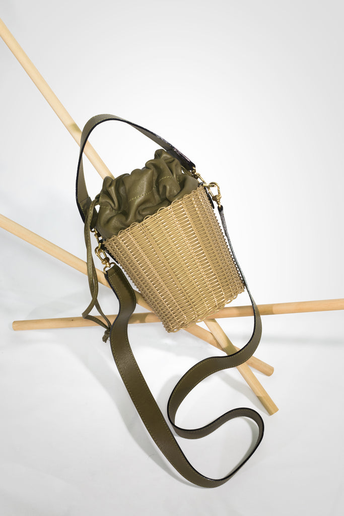 Olive Woven Leather Bucket Bag