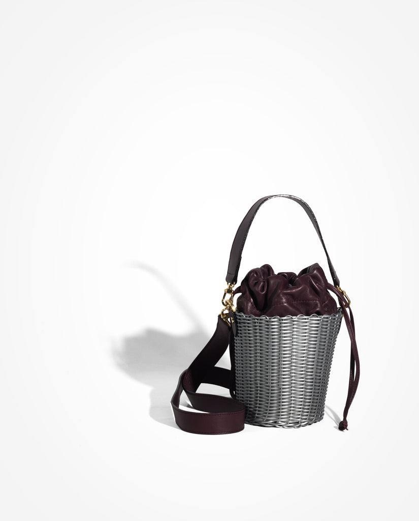 Purple Woven Leather Bucket Bag