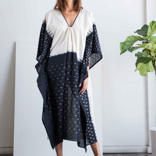 Ikat caftan with black front