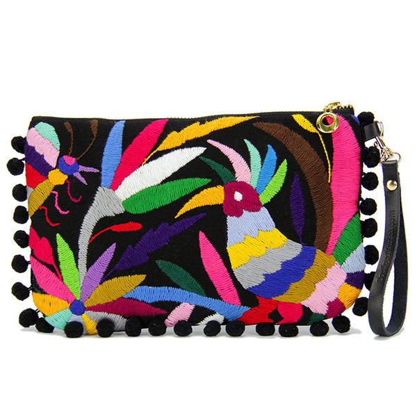 Black Camila Otomi Clutch