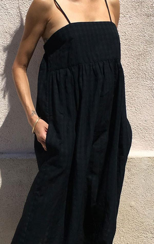 Black Grid Cotton Bandeau Dress