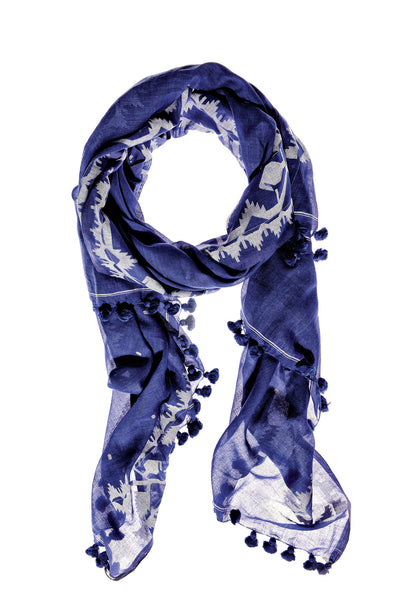 Cobalt Chantilly Cotton Scarf