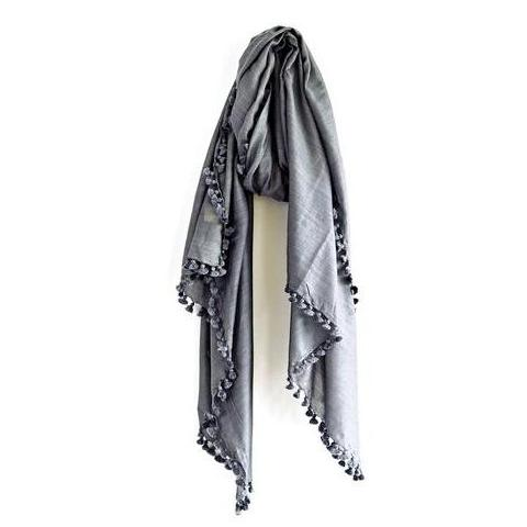 Charcoal Earth Silk Wool Scarf & Sarong
