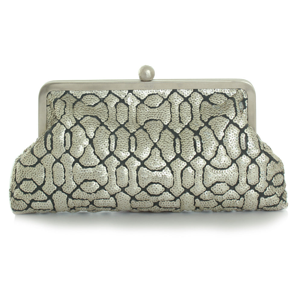 Classic Embossed Silver Clutch