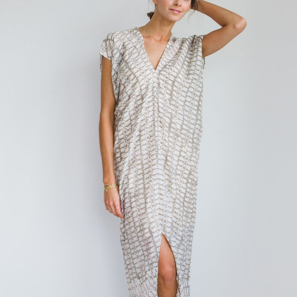 White Cotton and Silk Corfu Maxi Caftan