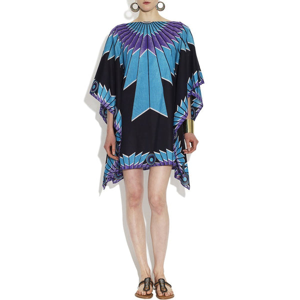 Cotton Sky Blue Print Saint Joan Poncho