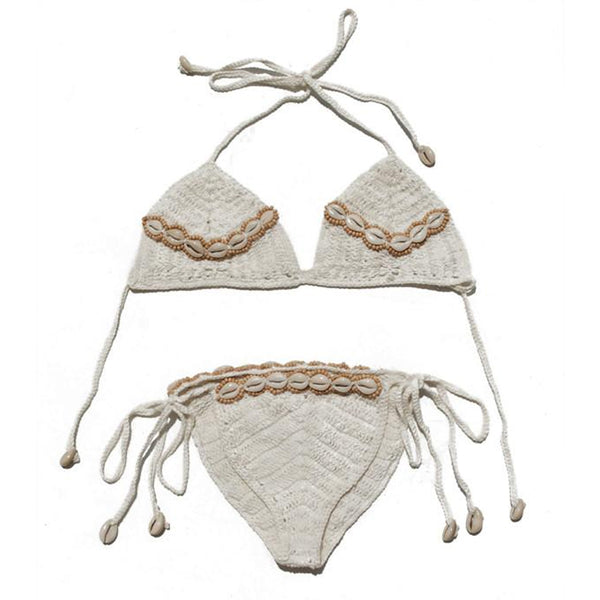 Cream Cinta Shell Crochet Bikini