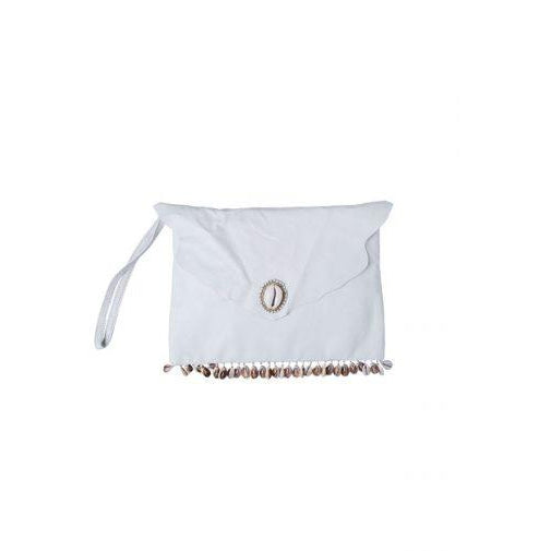 Cream Ombak Leather Clutch