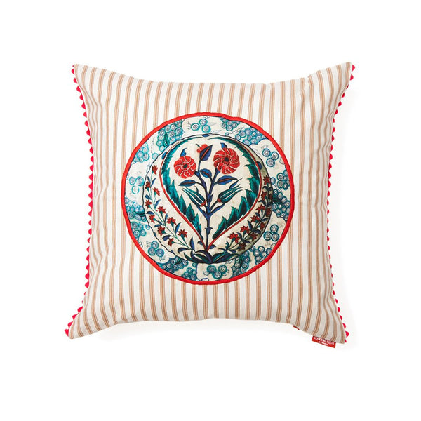 Cream Stripe Multi Flower Medallion Cushion Cover