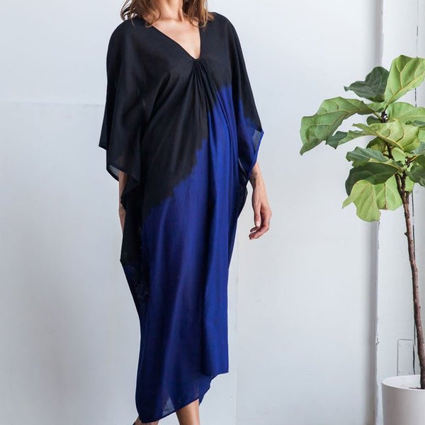 Black with Blue Degrade Ikat Caftan