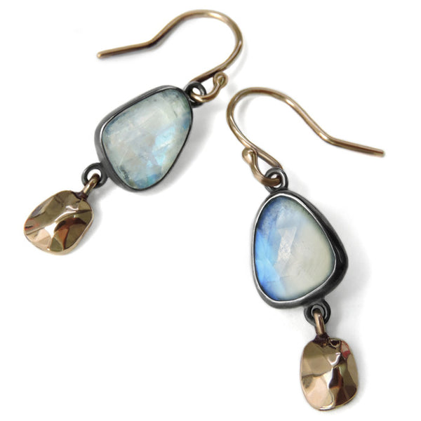 Moonstone and Nugget Wabi Earrings