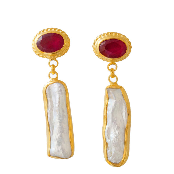 Roman Art Ruby and Pearl Dangle Earrings