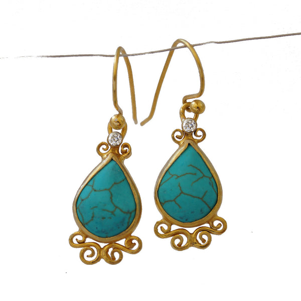 Handmade Turquoise Roman Art Earrings
