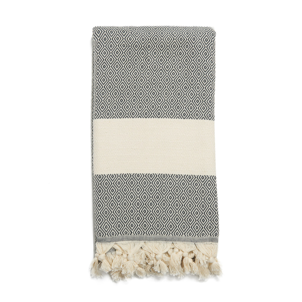 Dark Charcoal Cotton & Linen Turkish Towel