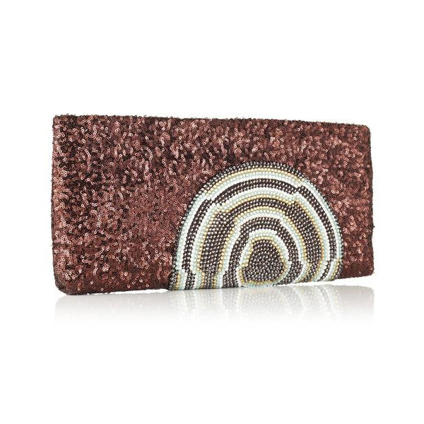 Dibulla Brown Evening Clutch with Sequins