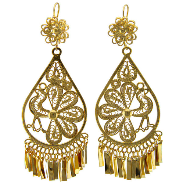 BOUTIQUEMEXICO, Gold Large Filigree Earrings I