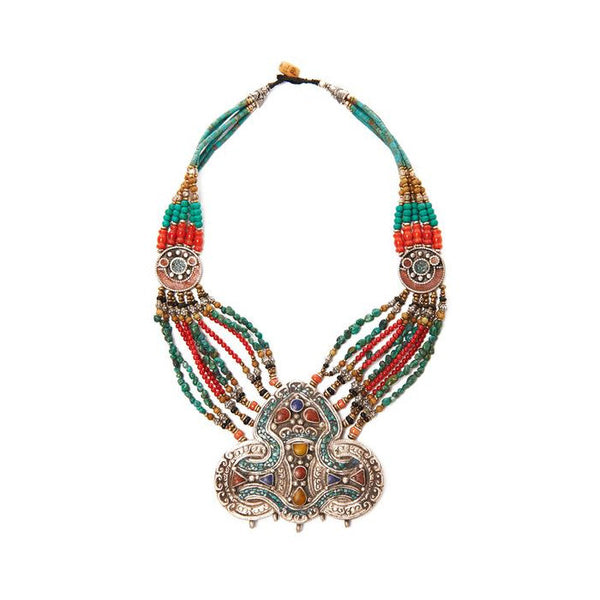SHOP LATITUDE BAZAAR ISTANBUL, Turquoise And Coral Metal Haluk Bead Necklace
