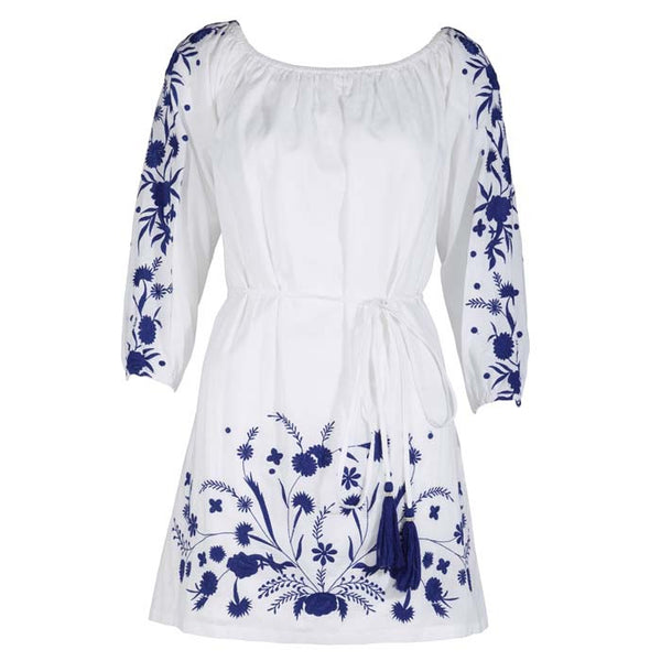 PAMPELONE, White and Blue Grimaud Mini Dress