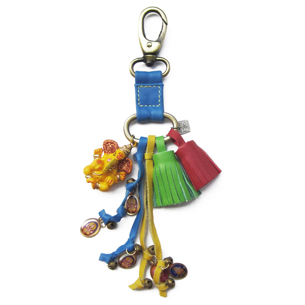 New Grigri Leather Yellow Ganesh Key Chain