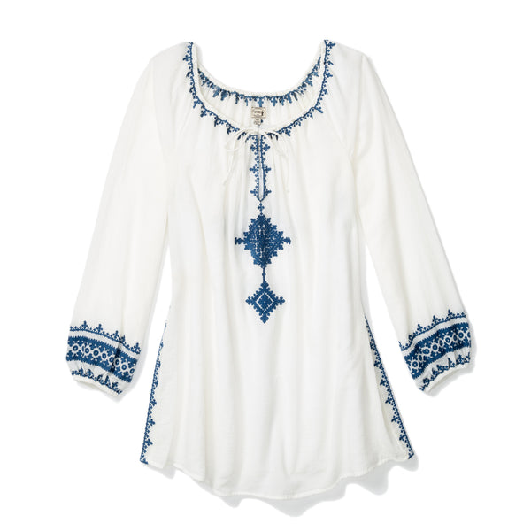 Cream Cotton Tangier Peasant Blouse