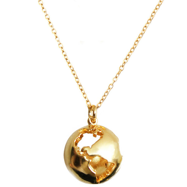 Gold Plated Globe Pendant Necklace