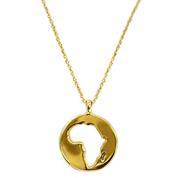 Gold Plated World Africa Pendant Necklace