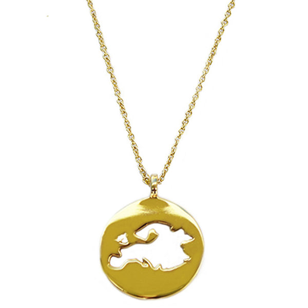 Gold Plated World Europe Pendant Necklace