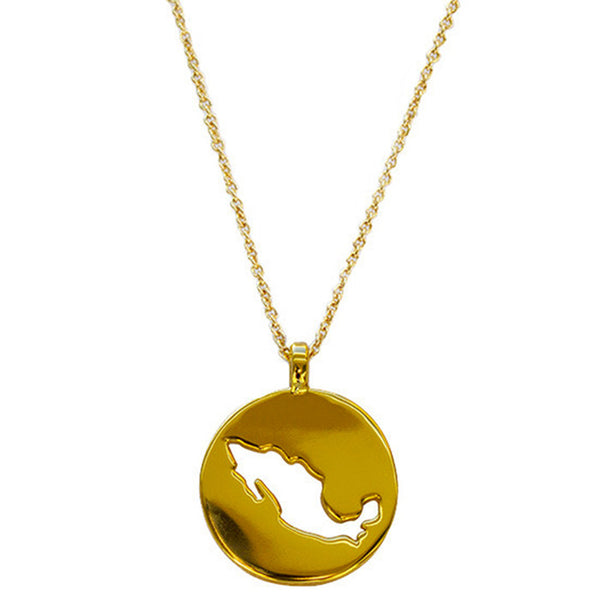 Gold Plated World Mexico Pendant Necklace