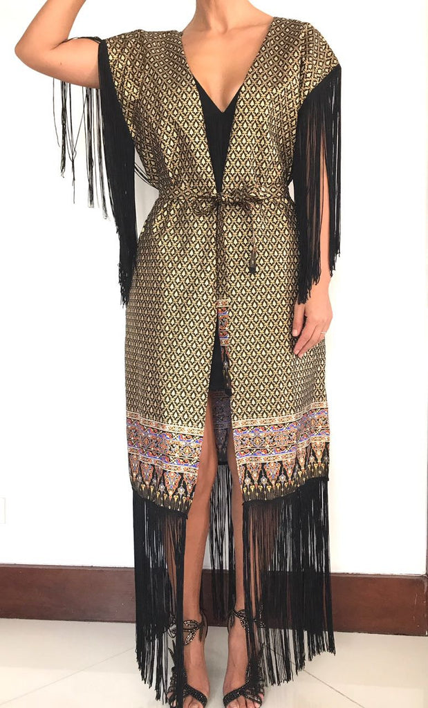 Golden Girl Long Fringe Belted Kimono