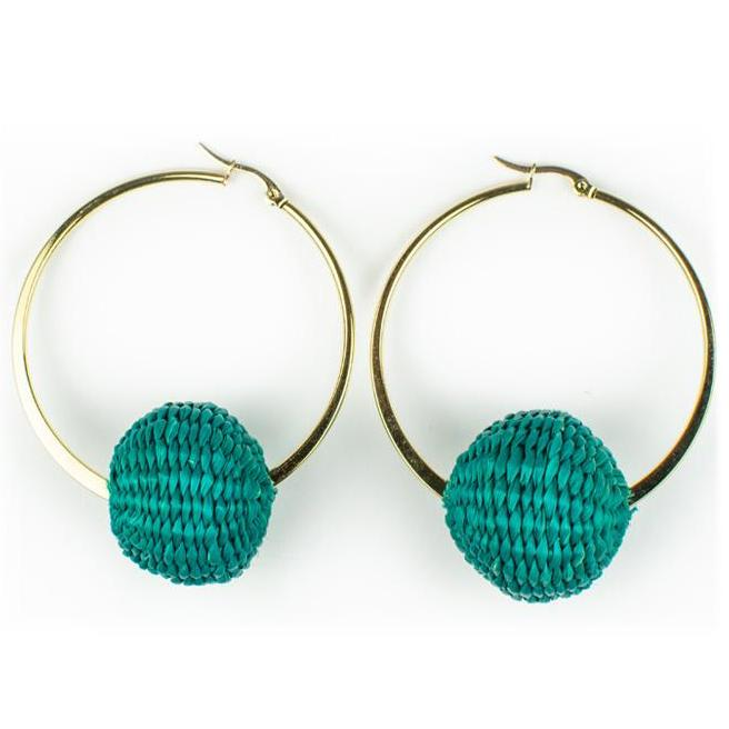 Green Palm Cardonga Hoop Earrings