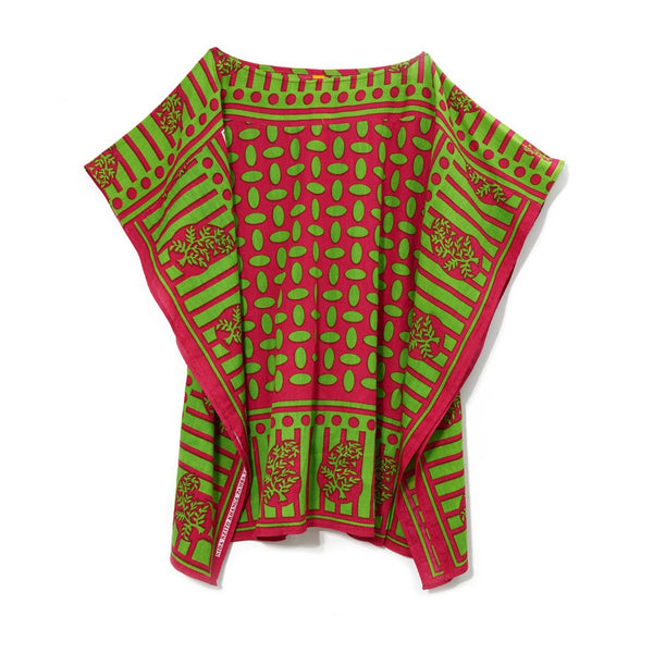 Green Pink Print Cotton African Lounger Tunic