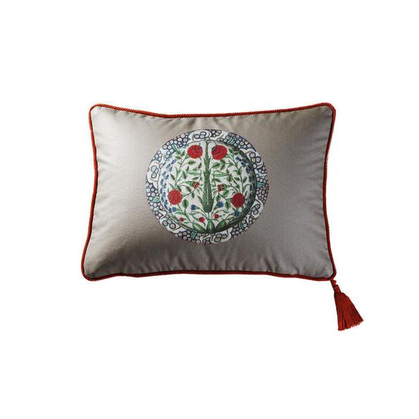 Grey Cotton Iznik Servi Floral Medallion Cushion Cover
