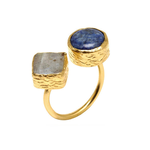 DEACTIVATED FOR API Gray and Lapis Lazuli Hami Ring