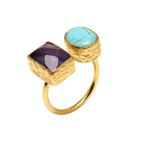 DEACTIVATED FOR API Turquoise and Amethyst Hami Ring