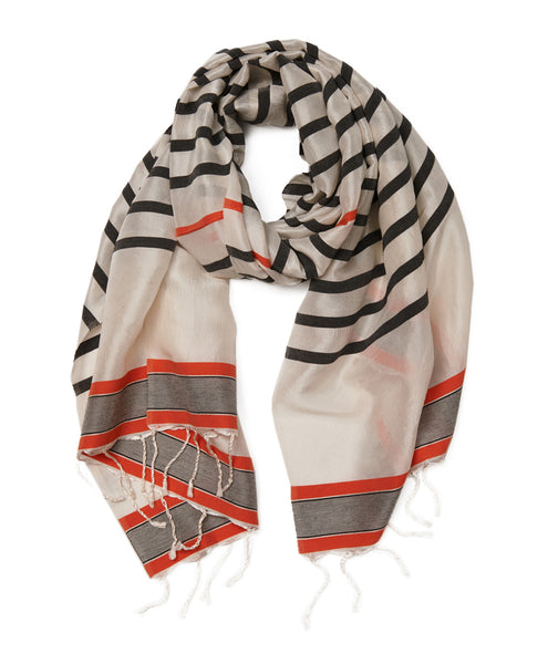 HAREMLIQUE, Black Orange Stripe Silk Road Scarf & Sarong
