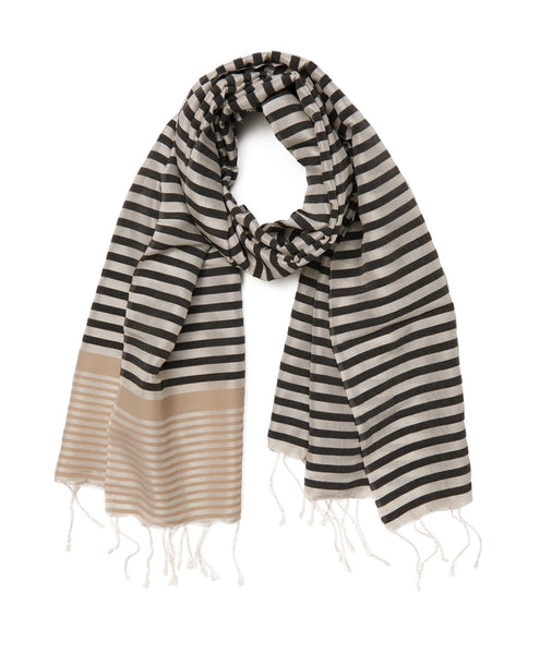 Black Cream Stripe Silk Finike Scarf & Sarong