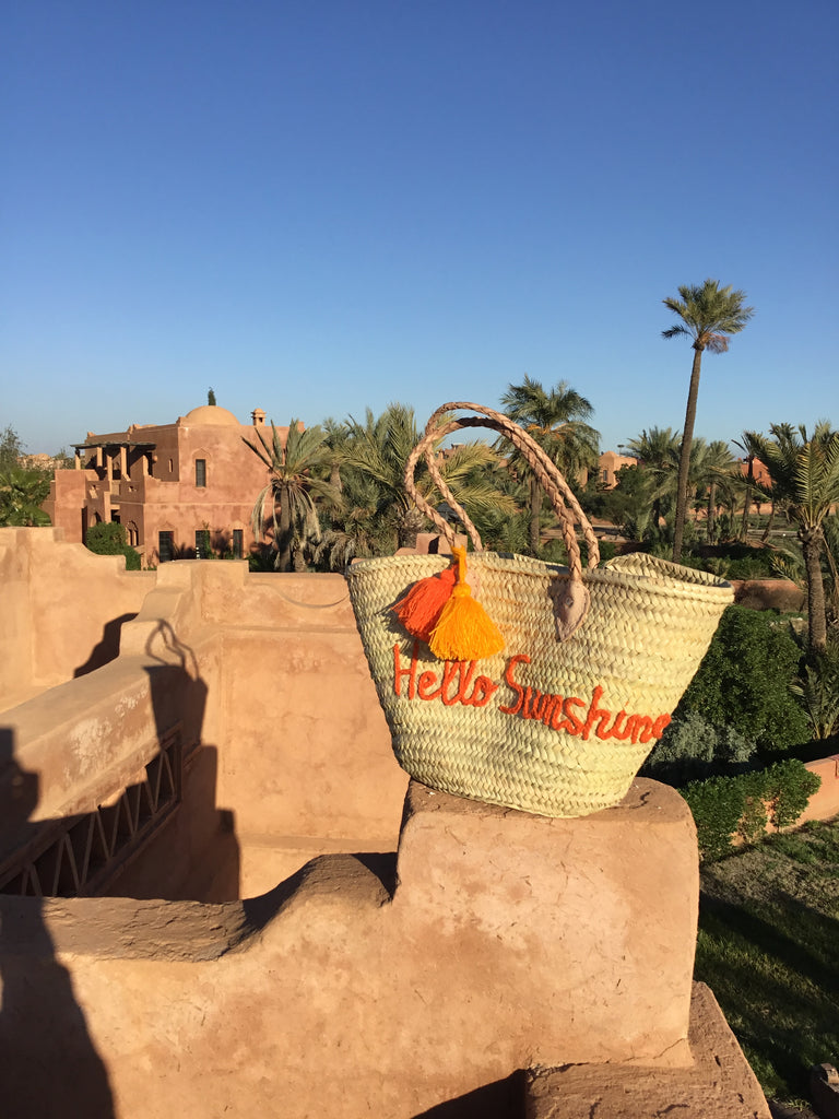 Hello Sunshine Embroidered Basket