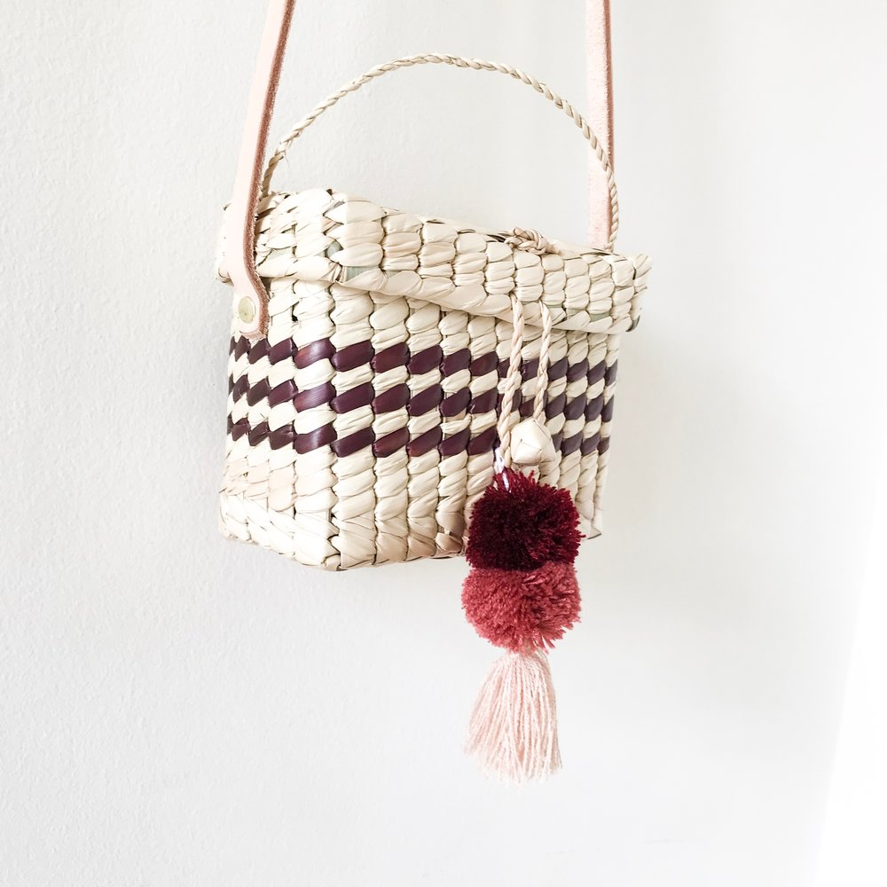 Mini Burgundy Niki Palm Shoulder Bag