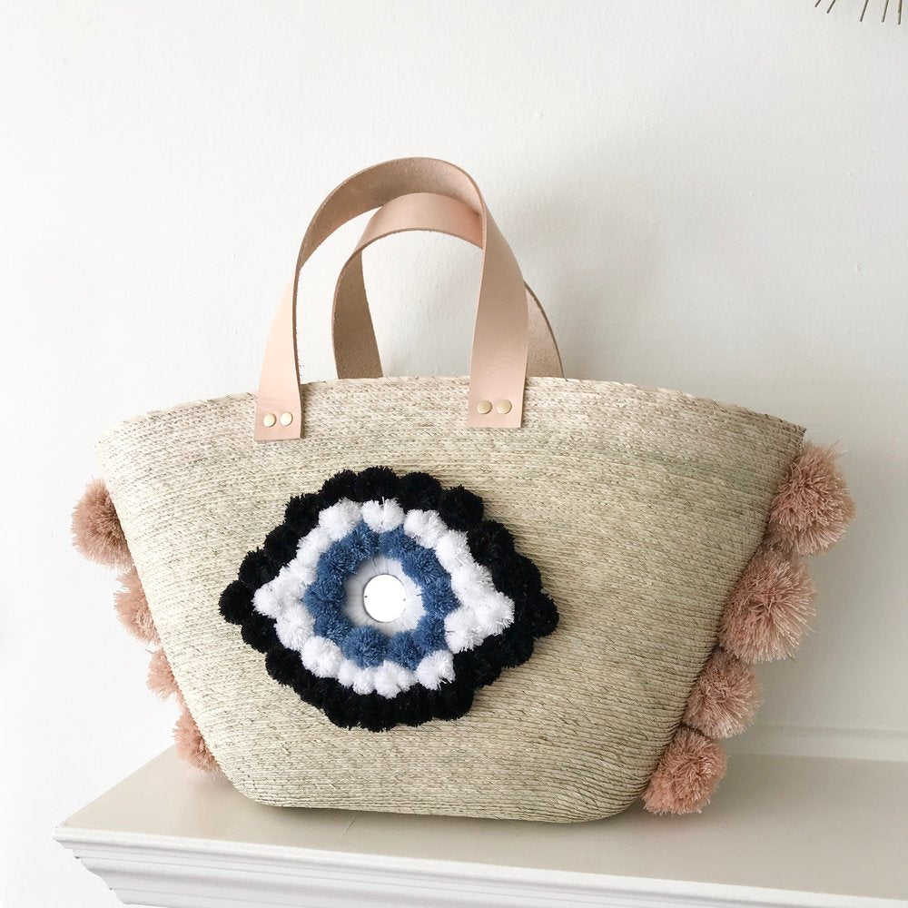 Nude Palm Evil Eye Xica Beach Bag