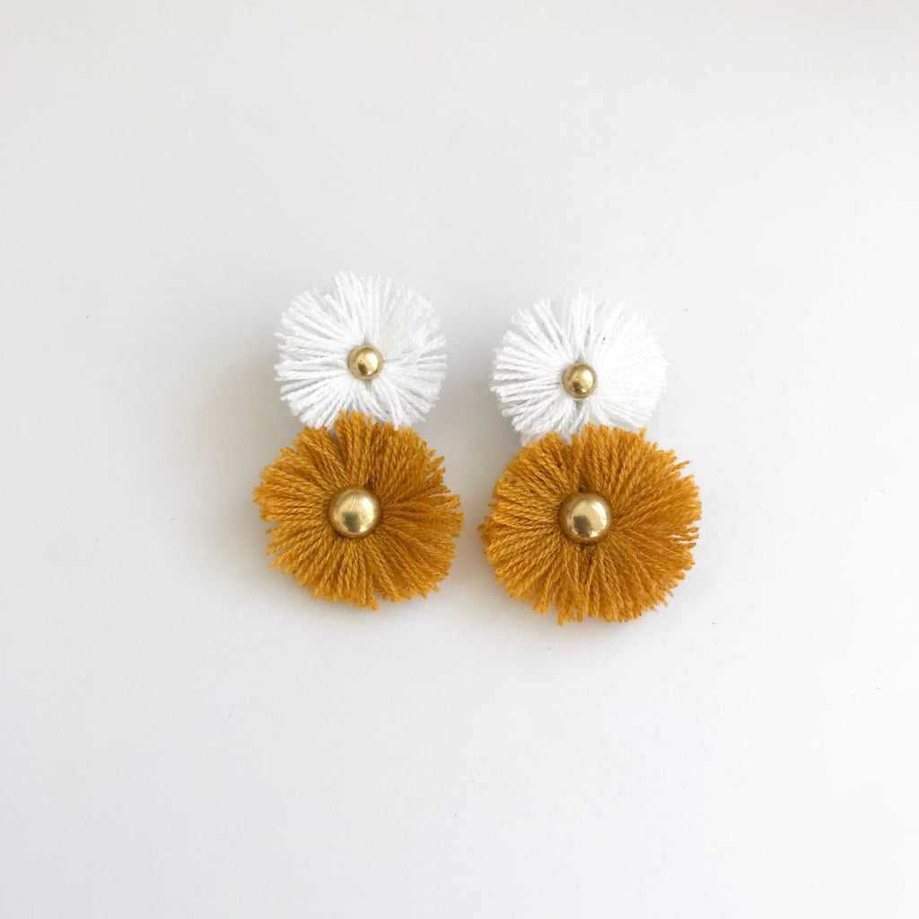 Ochre & White Soles Earrings
