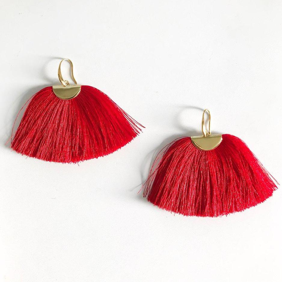 Red Silk Isabel Earrings