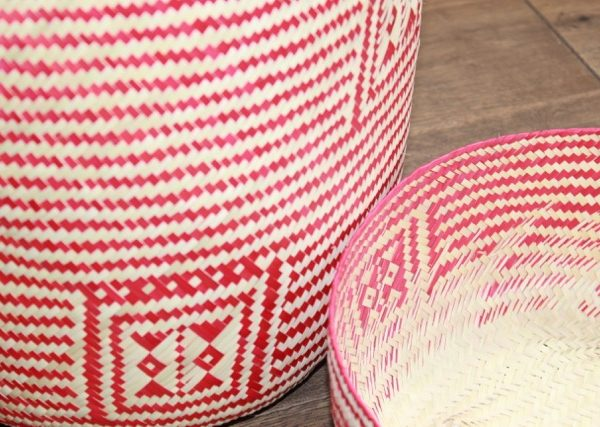 Medium Red Palm Handwoven Basket
