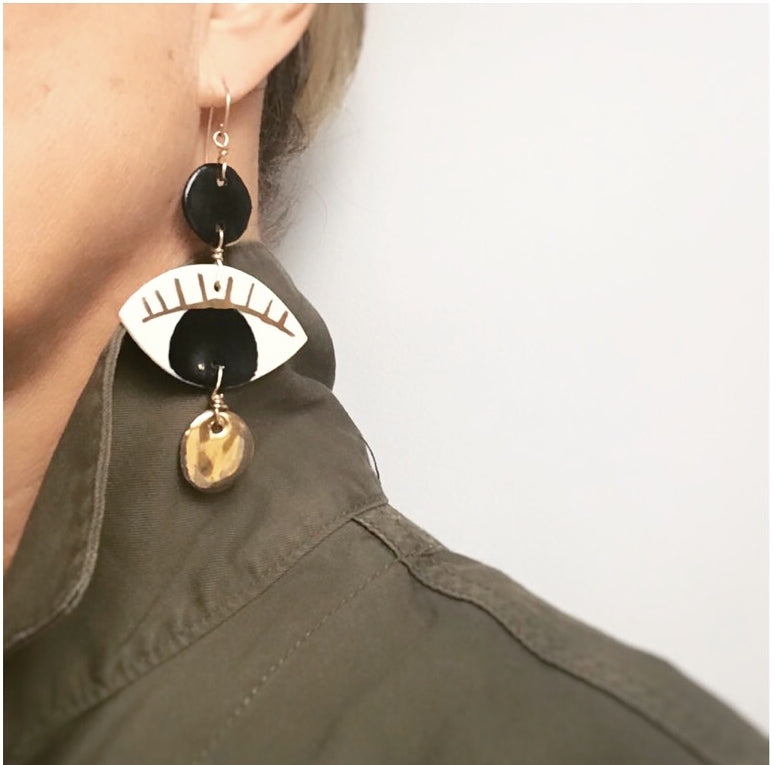 Black Porcelain Eye Dangler Earrings