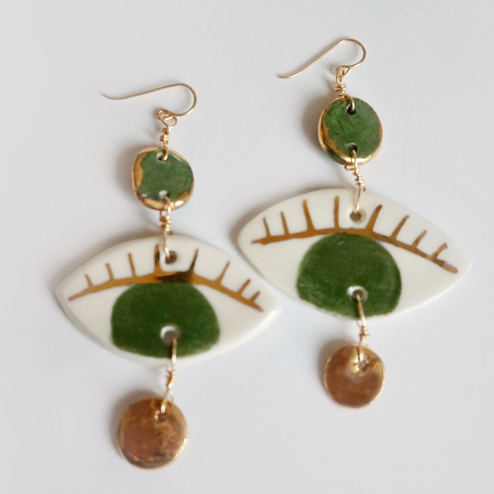 Green & Gold Porcelain Dots + Eyes Earrings