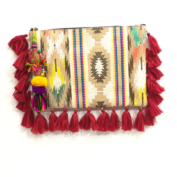 Tan and Red Rafita Clutch