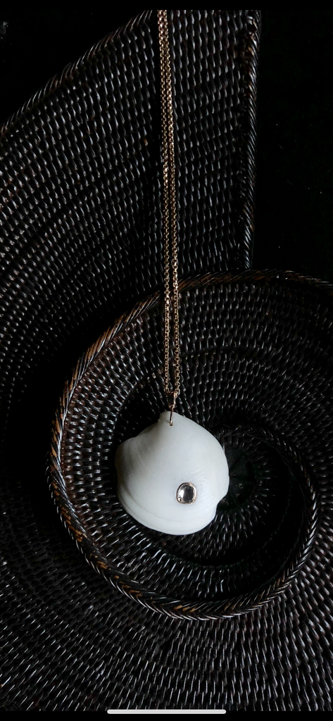 One of a Kind White Shell Pendant with Polki Diamond