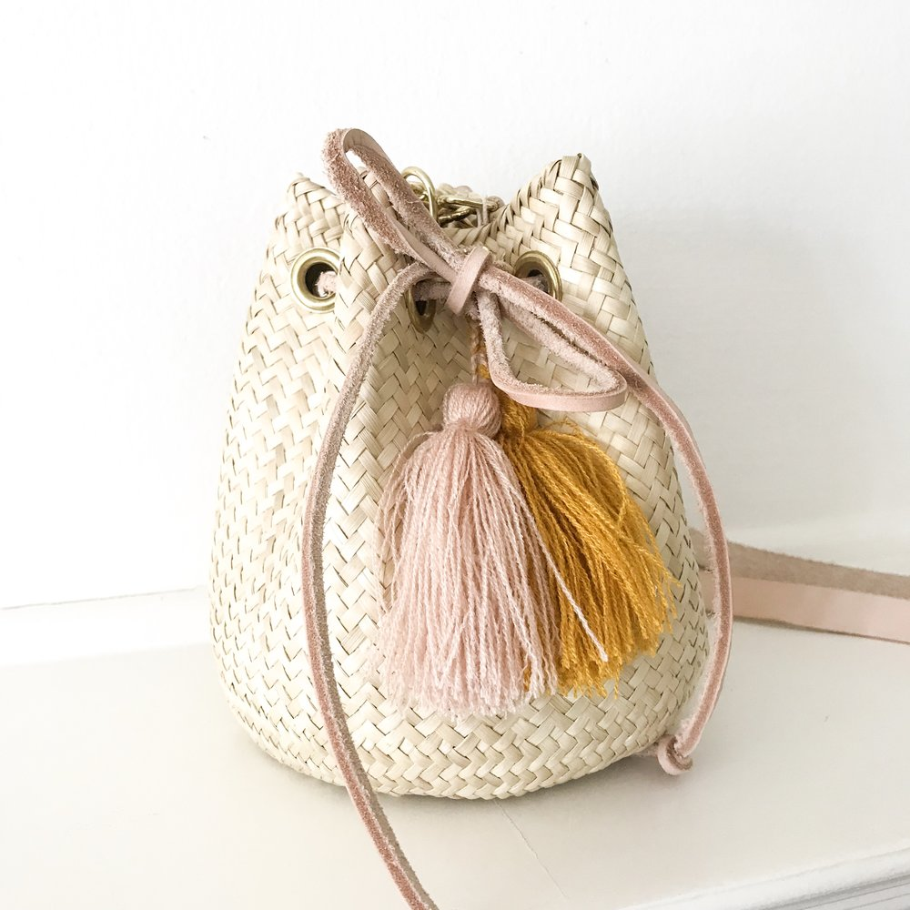 Small Ochre Palm Mara Bucket Bag