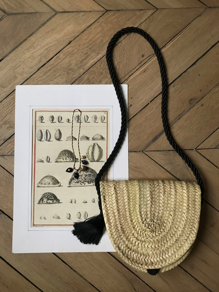 Woven Palm and Tassel Crossbody Bag