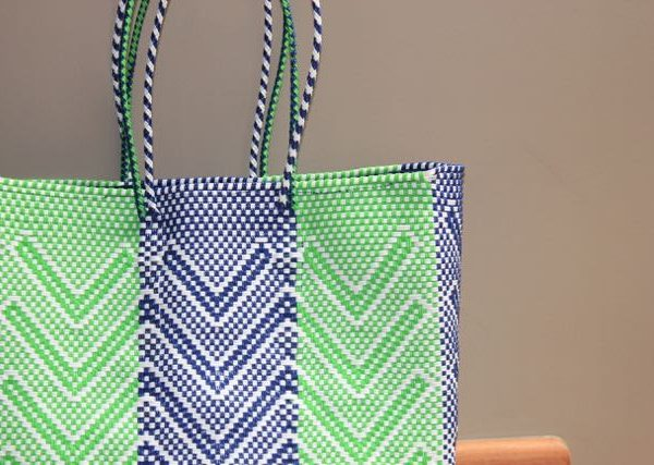 Green & Blue Handwoven Tote Bag